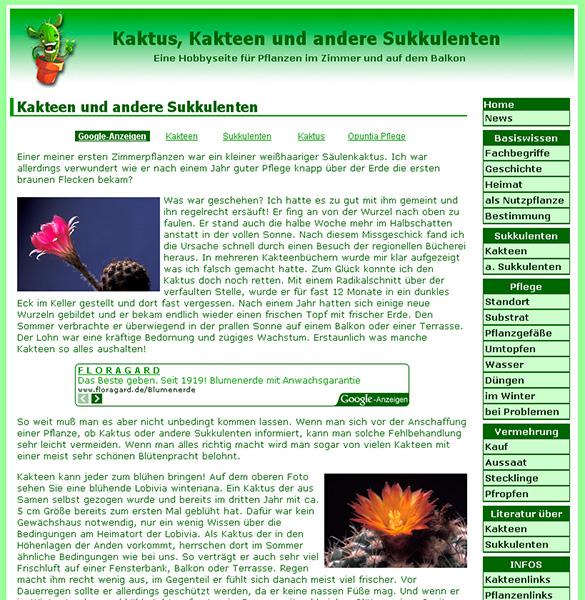 Homepage über Kakteen und andere Sukkulenten