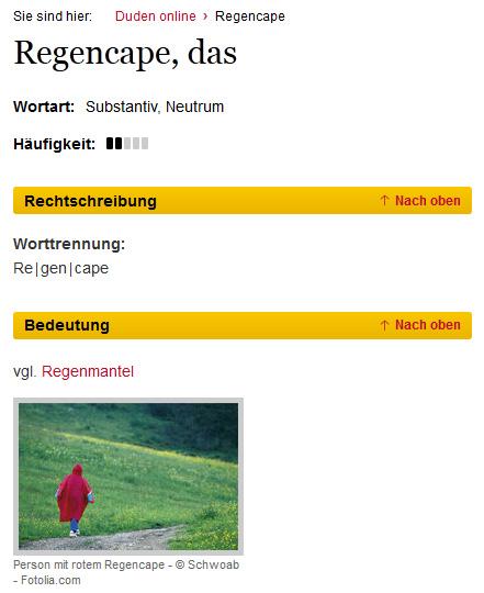 Referenz: Duden Begriff Regencape