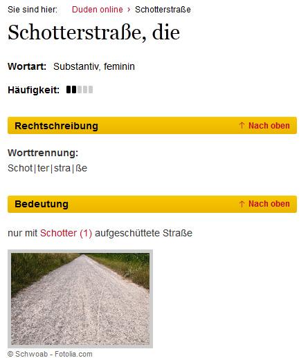 Referenz: Duden  Begriff Schotterstraße
