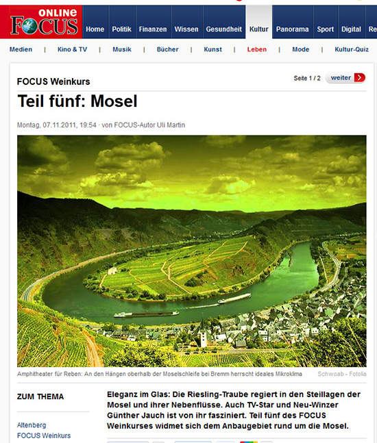 Referenz: Focus Online - Weinkurs Mosel