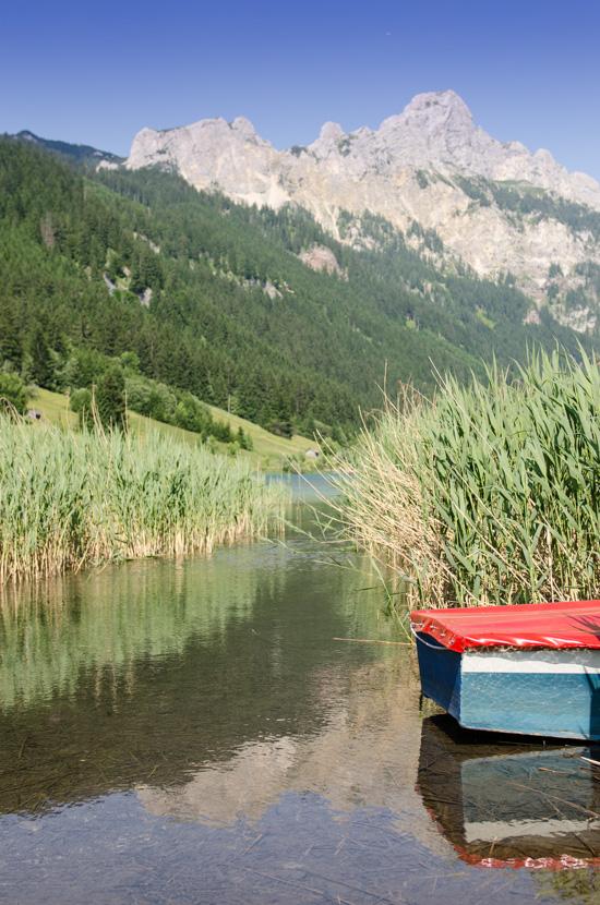 Boot im Schilf vom Haldensee