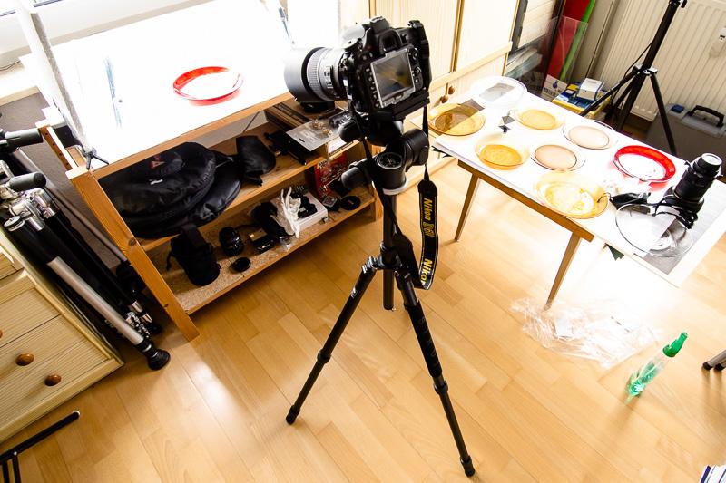 Set-Aufbau mit Tageslicht für die Food-Fotografie