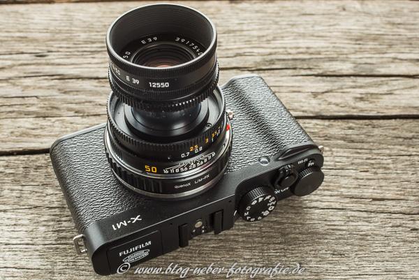 Fujifilm X-M1 Kamera mit Leica M Objektiv