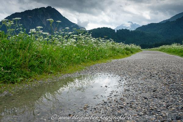 Pfütze und Regenwolken im Allgäu
