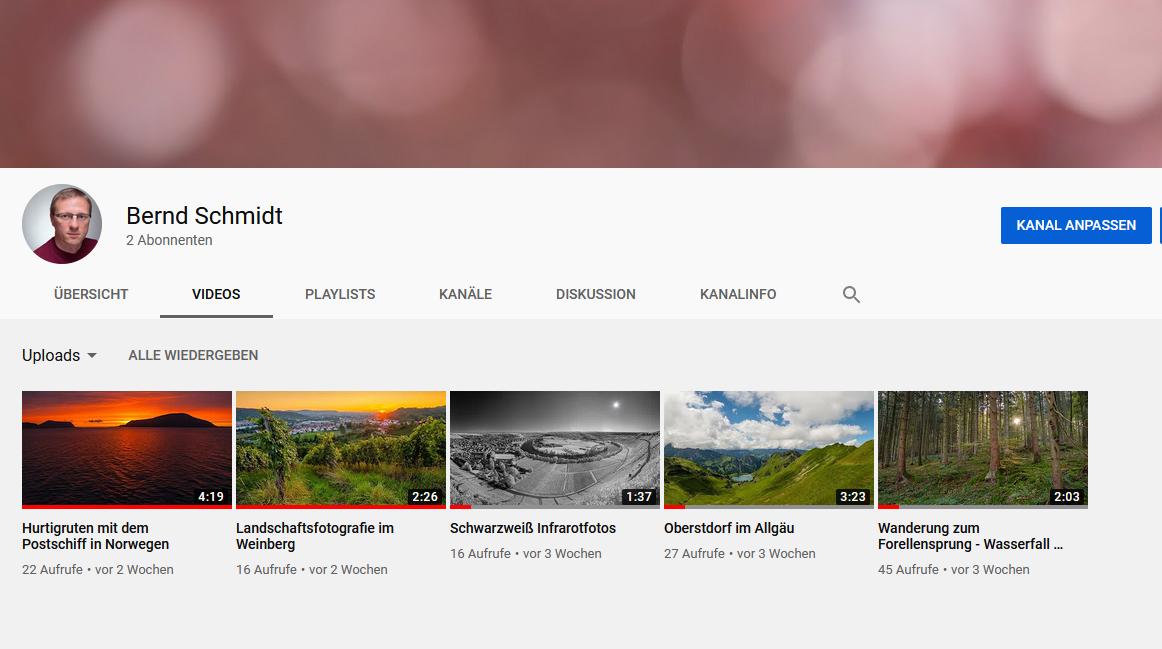 YouTube Channel von Bernd Schmidt
