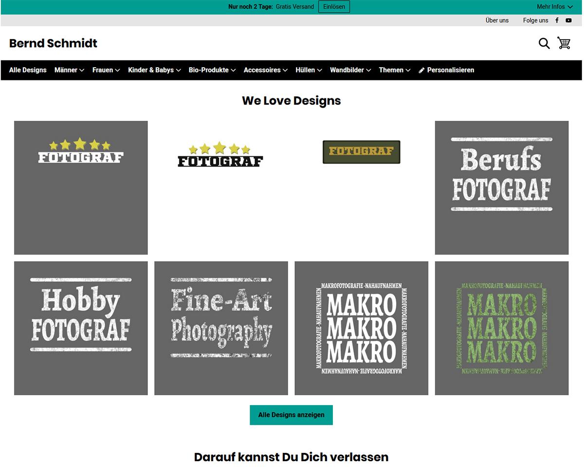 Spreadshirt Shop mit Fotografen-Designs